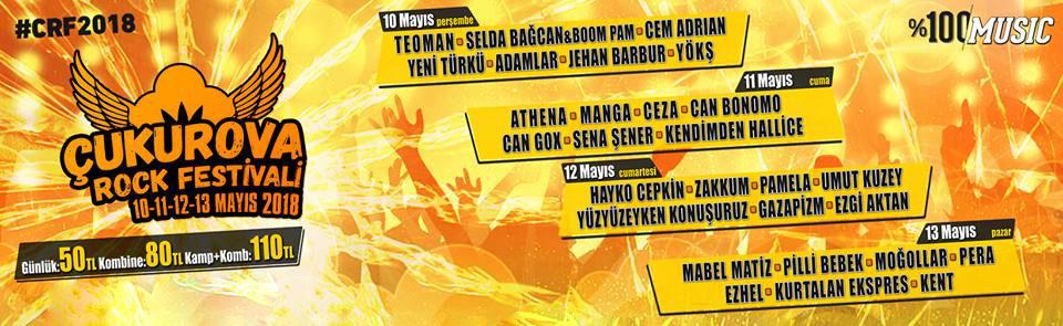RF 2018 Liste - Çukurova Rock Festivali 2018